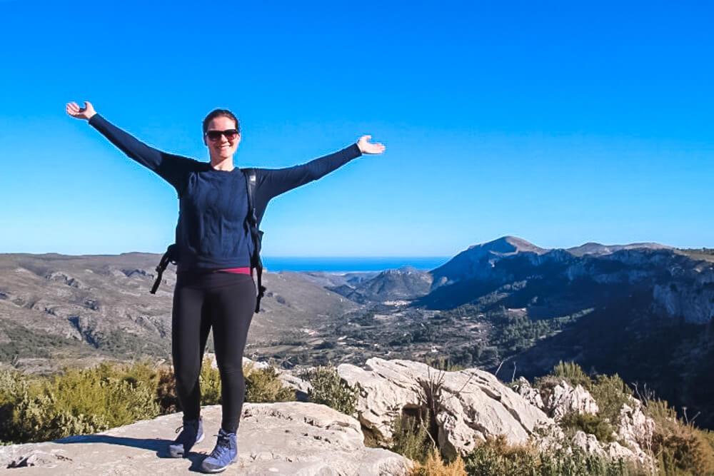 woman posing in mountains in Spain