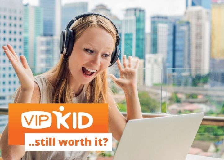 image of girl teaching english online with text overlay that says is vipkid worth it still