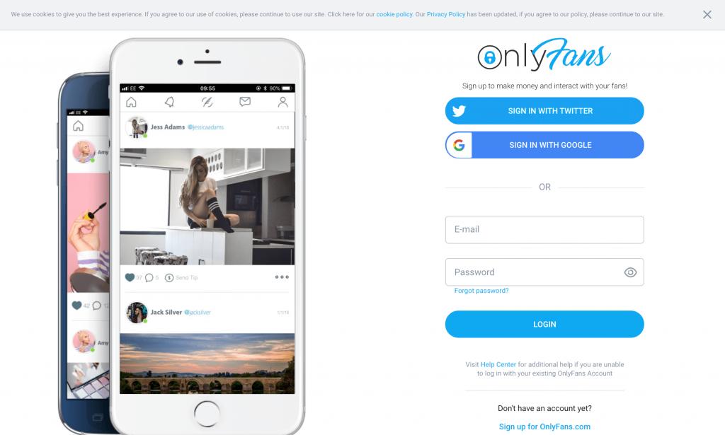 screenshot of onlyfans homepage