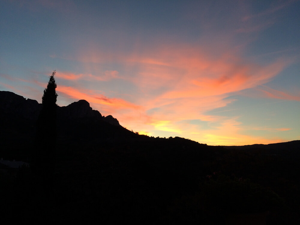 sunset in the mountains in Spain