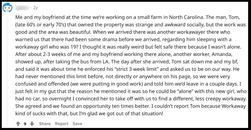 screenshot of workaway experience from reddit
