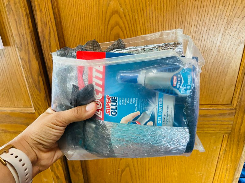 DIY organizer bag made from scraps of shoe organizer