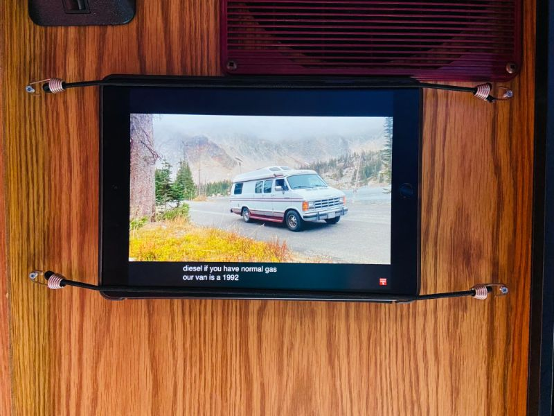 camper van hack showing how to build a cheap entertainment system to hold up your ipad