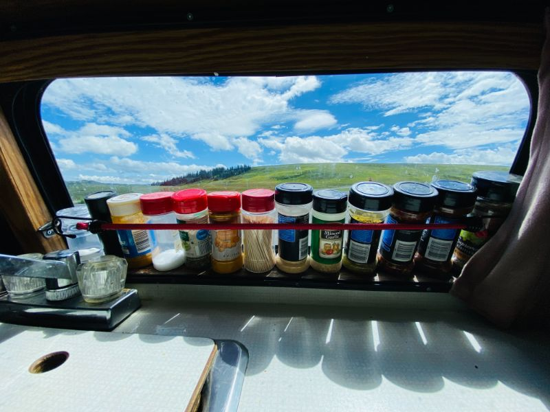 van life spice rack organization using bungess and D rings