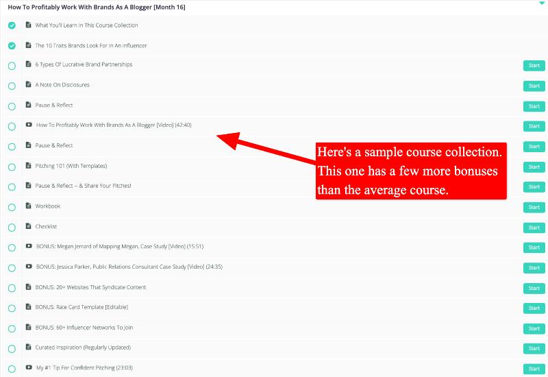 screenshot of travel blog prosperity course