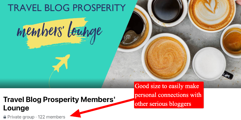 screenshot of travel blog prosperity member's lounge
