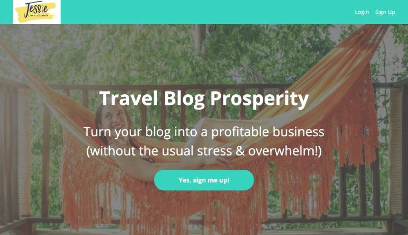 screenshot of travel blog prosperity sales page
