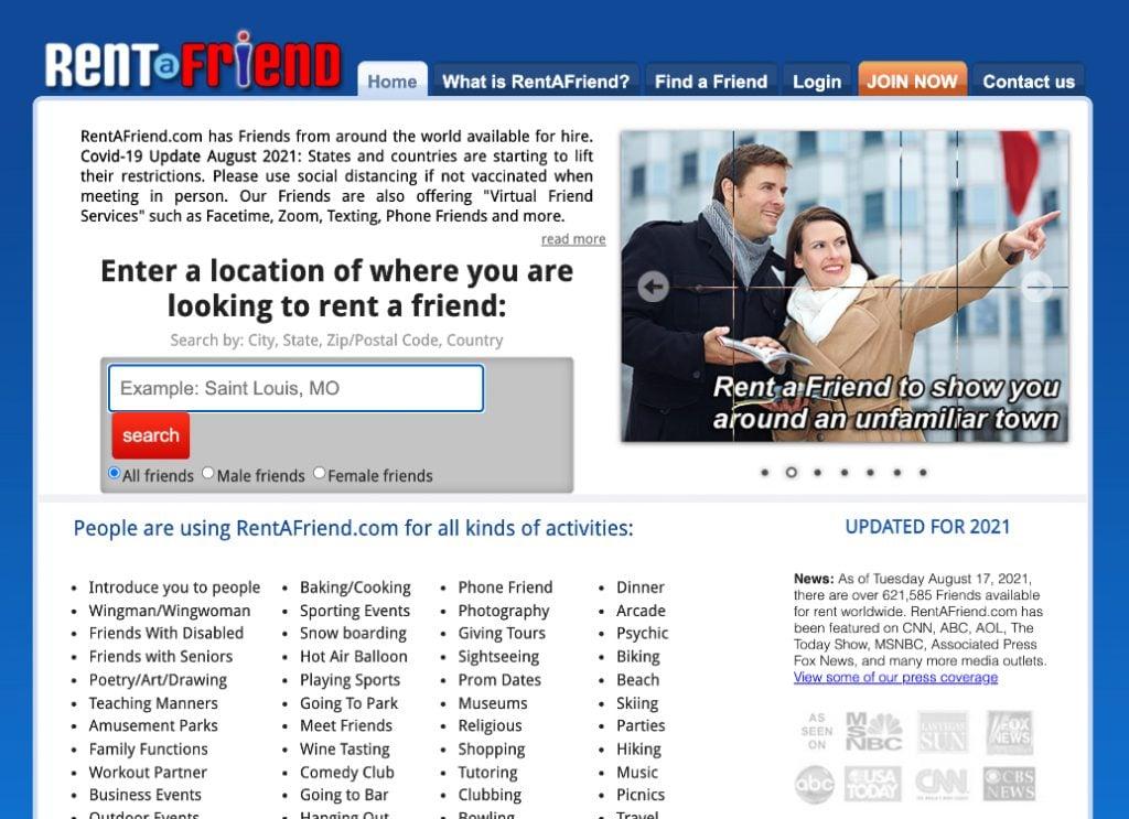 screenshot of rent a friend website