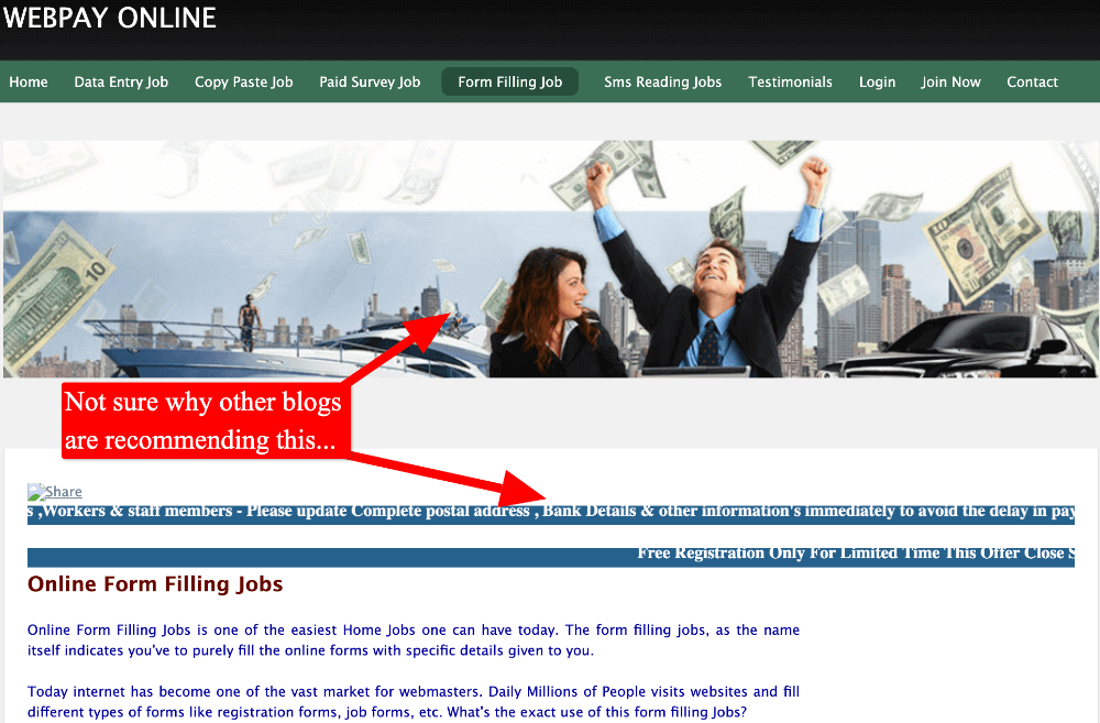 screenshot of scammy looking free form filling job online