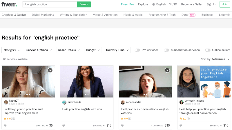 screenshot of search on fiverr for english practice partners