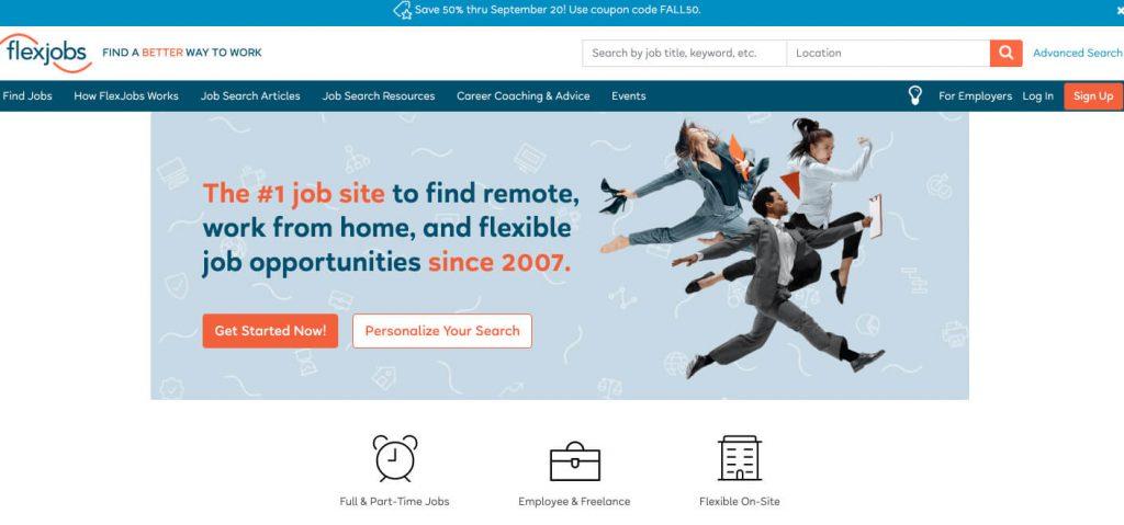screenshot of flexjobs