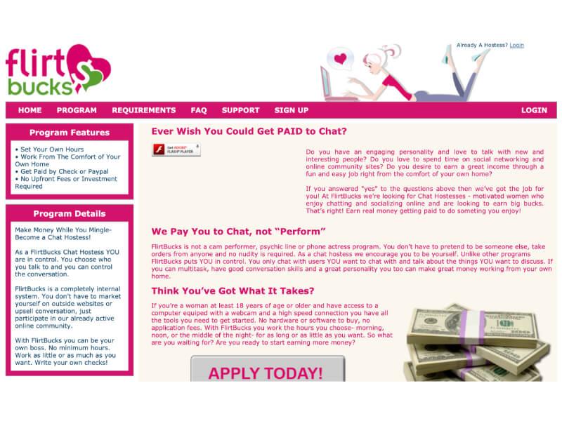screenshot of flirtbucks website