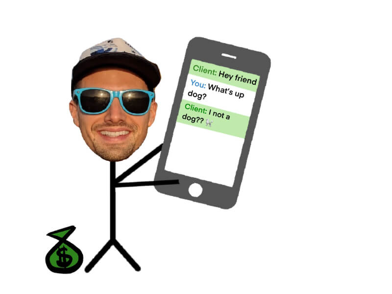 graphic of stick guy getting paid to chat in english online