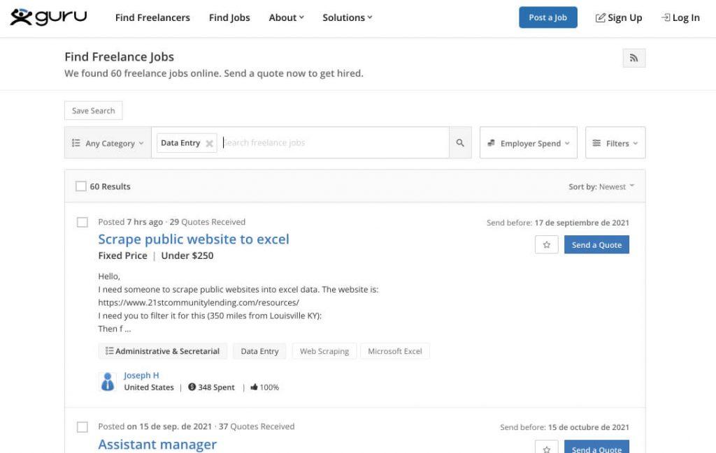 screenshot of guru data entry jobs