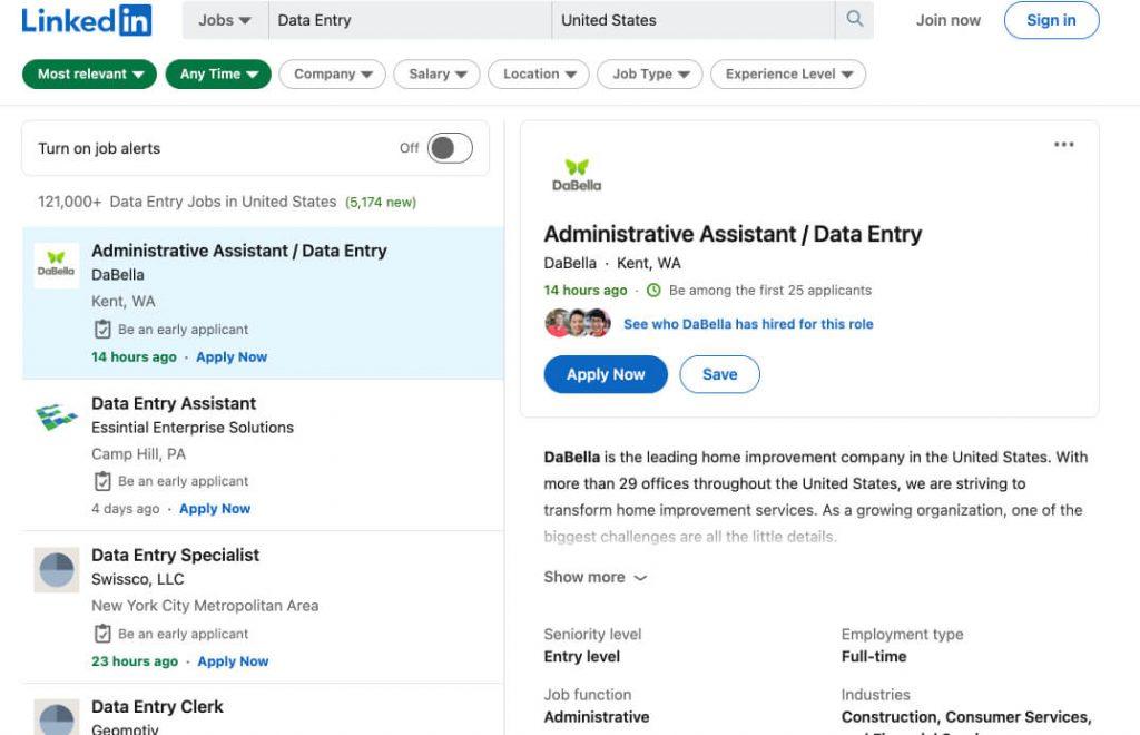 screenshot of linkedin data entry jobs