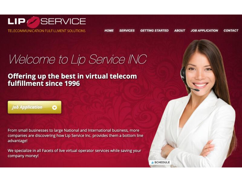 screenshot of lip service website