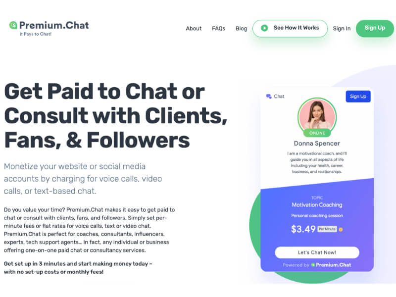 screenshot of premium chat website