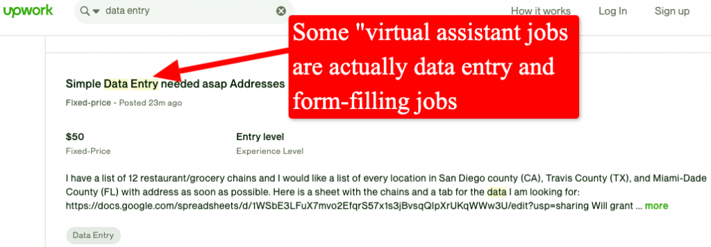 screenshot of upwork data entry jobs