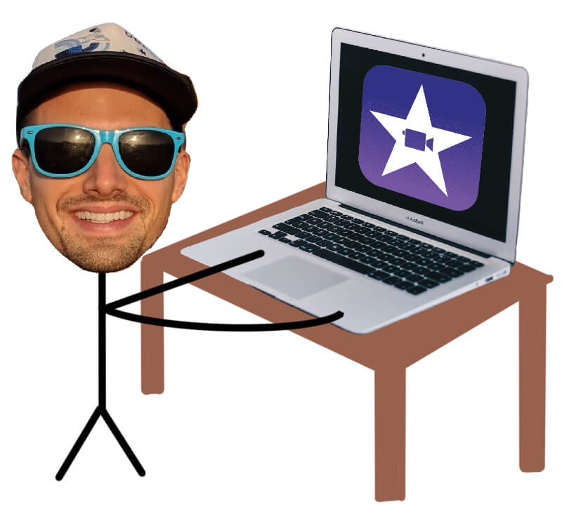 drawing of freelance video editor on his laptop