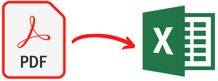 arrow pointing from pdf icon to excel icon
