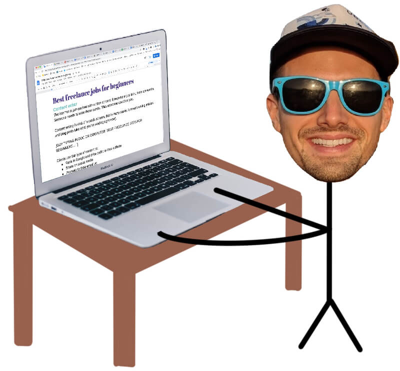drawing of a freelance content writer working at a desk