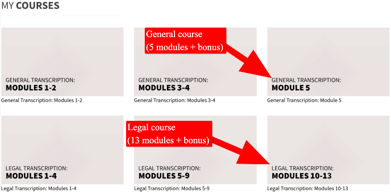 screenshot of transcribe anywhere course modules