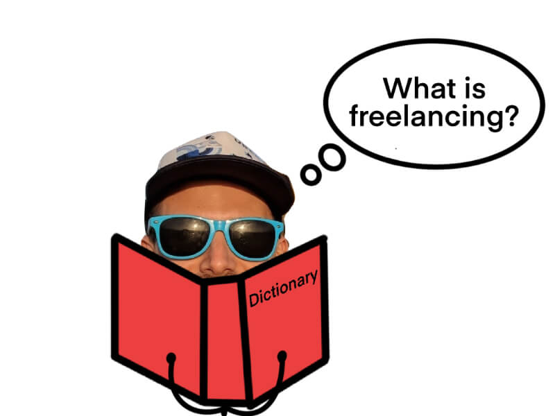 guy reading dictionary thinking what is freelancing